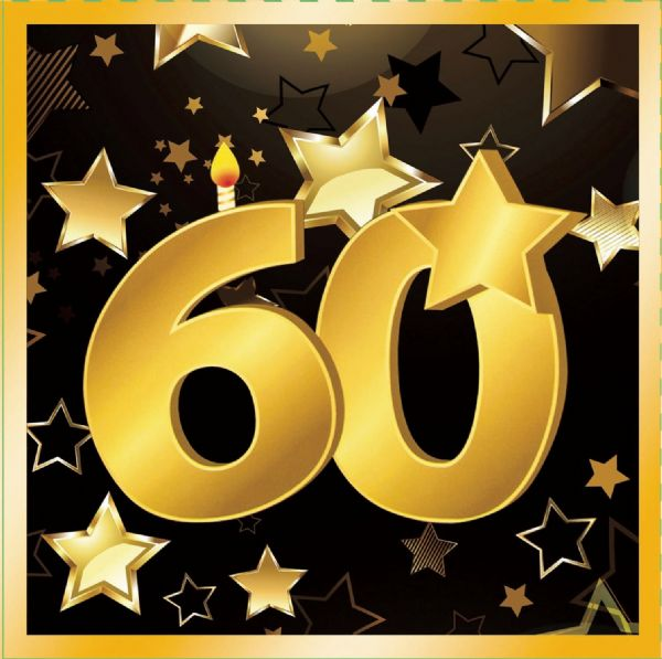 60th Birthday Napkins 13 ( 16 in pkt) Party Tableware